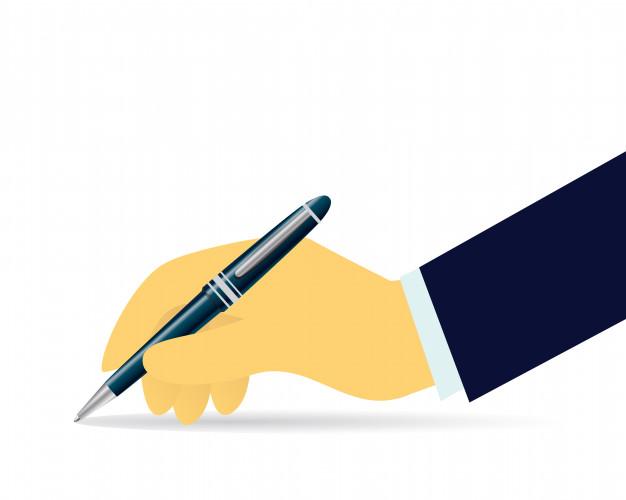 Бизнесмен, писать с ручкой, изолированных на белом. векторная иллюстрация | Премиум векторы