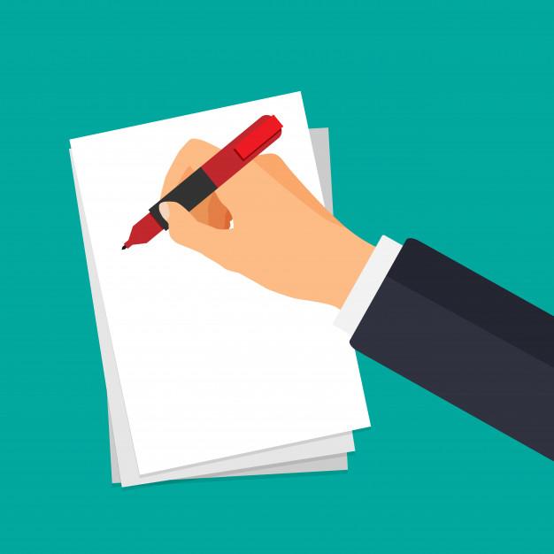 Вектор рука с ручкой, написание на бумаге. бизнесмен подписывает документ. | Премиум векторы